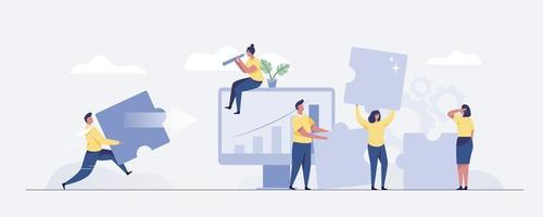 Business concept. Team metaphor. people connecting puzzle elements. vector