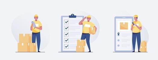 delivery man standing with parcel box and list of parcels. vector