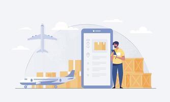 transporte aéreo que se puede entregar en cualquier lugar. vector