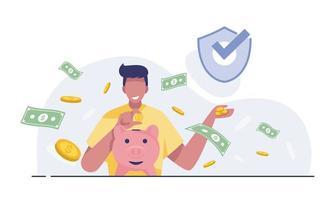 hombre feliz tiene una alcancía. concepto de ahorro de las finanzas. vector
