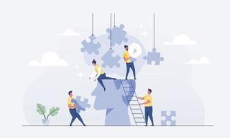 Teamwork connects jigsaw puzzles for brainstorming. vector