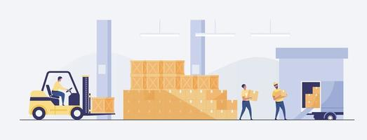 Warehouse Interior with Boxes On Rack And People Working. vector