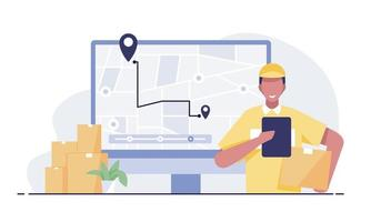 Delivery man carrying parcels to GPS map laptop screen background. vector