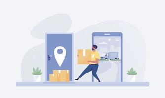 Courier delivering order to customer door. vector illustration