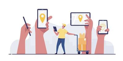 Mobile smartphone with location pin delivery service concept. vector
