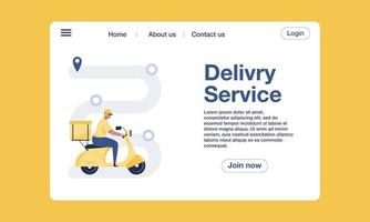 Order delivery tracking landing page template design concept. vector