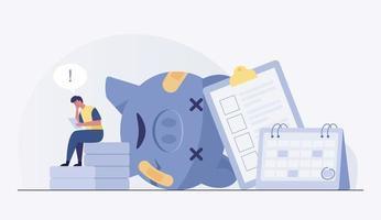 Sad man concerned about financial problem. vector illustration