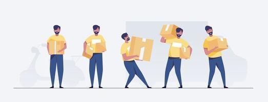 Set of courier man holding packaged parcels. vector illustration