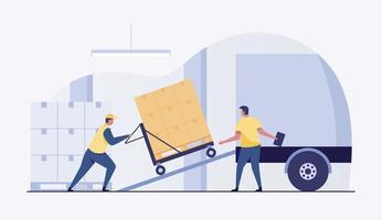 almacenista, trabajador carga cajas en un camión. ilustración vectorial vector