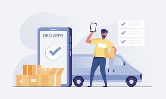 repartidor de pie con caja de paquetería y lista de paquetes. vector