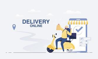 Fast delivery by scooter on mobile smartphone. vector