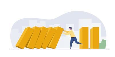 empresario deteniendo la caída del efecto dominó. vector