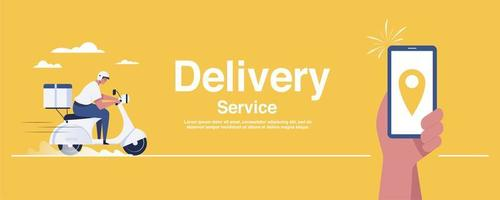 man holding smartphone with logistics transport delivery man location. vector
