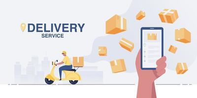 el conductor entrega paquetes con un scooter. servicio de entrega urgente. vector