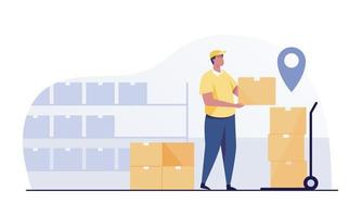 Warehouse worker store with Boxes On Rack. vector