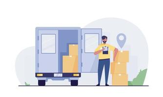 Delivery courier man. delivery truck with parcel. vector