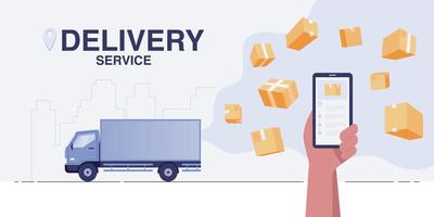 Delivery truck concept. Fast delivery service app on smartphone. vector
