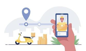 Hand holding mobile application tracking a delivery man. vector