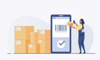 Warehouse worker scanning barcode on box with smartphone. vector