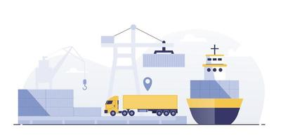 Ports with cargo ships and containers work with crane. vector