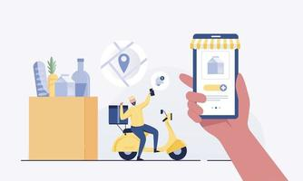 Fast food delivery app and delivery man. vector