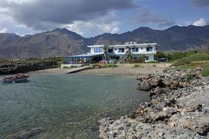 Beach frangokastello in creta island greece modern summer background photo