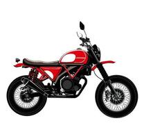 vector image of classic motorcycle illustration in red and black color