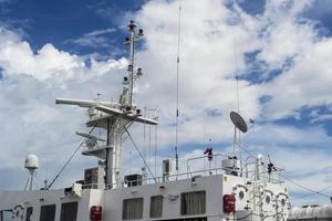 Sorong, Indonesia 2021- Police patrol boat mooring at the dock photo