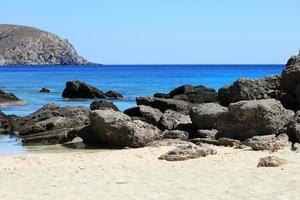 Kedrodasos beach crete island greece blue lagoon crystal waters corals photo
