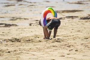 Sorong, Indonesia 2021- A kid playing photo