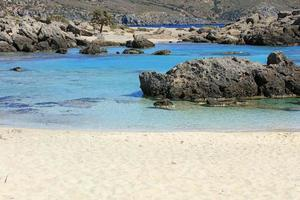 Blue lagoon kedrodasos beach crete island red sand waters background photo