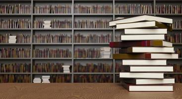 Stack of books in a library photo