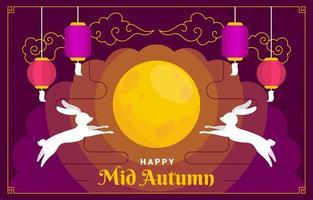 Mid Autumn Festival With Moon vector