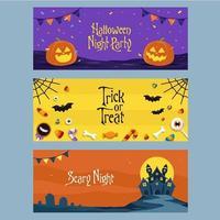 concepto de conjunto de banners de halloween vector