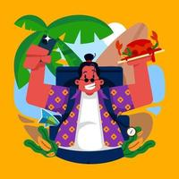 Vacation on Private Island with Crab Dish vector