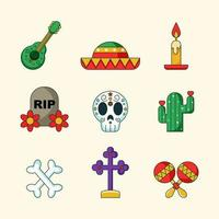Day of The Dead Icon Set vector