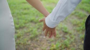couple main dans la main dans le parc video