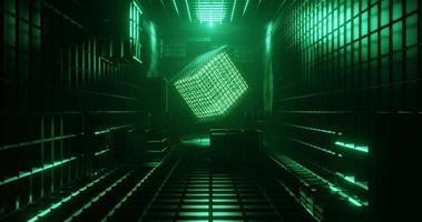 Boucle de rendu 3D du cube néon vert sur couloir sombre. video