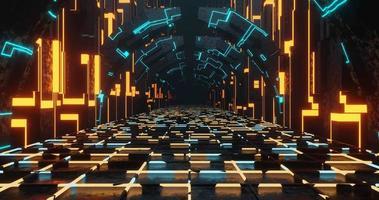 Lazo de representación 3D del corredor de ciencia ficción de neón. video