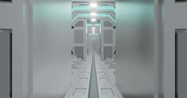 3d rendering seamless loop animation of white sci-fi corridor . video
