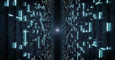 3d rendering seamless loop of blue neon wireframe background. video