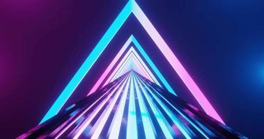 3d che rende il movimento ad anello continuo del percorso al neon e dei cancelli triangolari. video