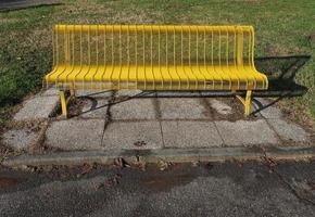 Bench in a public park photo