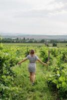 mujer caminando en un viñedo, vista posterior foto