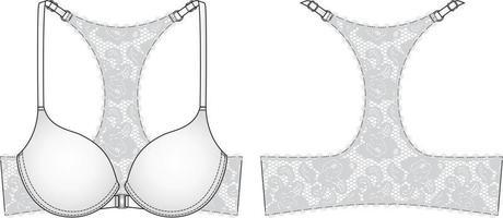 Lace Back Bra technical illustration. Editable lingerie flat sketch vector