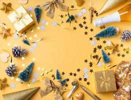 Top view of golden christmas and new year photo