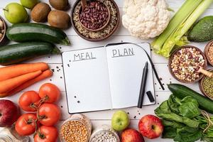 Notepad with words meal plan with healthy food, top view flat lay photo