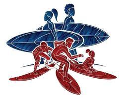 silueta, surfer, surf, deporte, macho y hembra, jugador vector