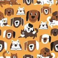 Childish seamless pattern of cute cats and dogs vector
