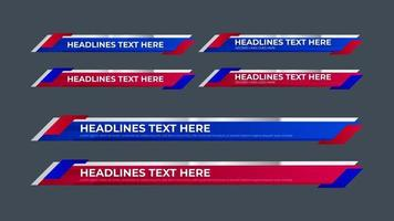 Lower Third Collection with red and blue color Set for News vector